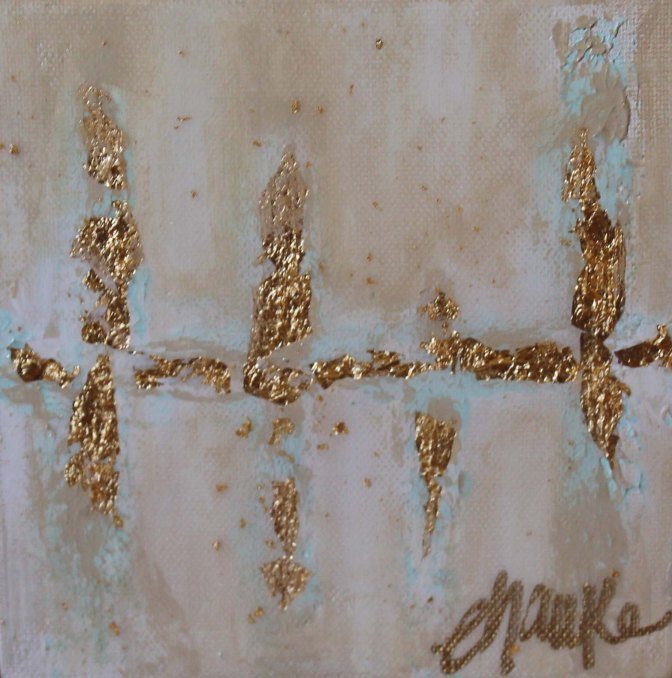 The Flip Side-- 6 inches x 6 inches. Acrylic and Gold Leaf on block canvas. Beautiful accent for a side table or coffee table. High-gloss Resin  finish. $35.
