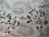 """Bits and Pieces II"". Acrylic, and Gold Leaf and Silver Leaf on Gallery Wrapped Canvas. UV Coating. 36""x48"". $625"