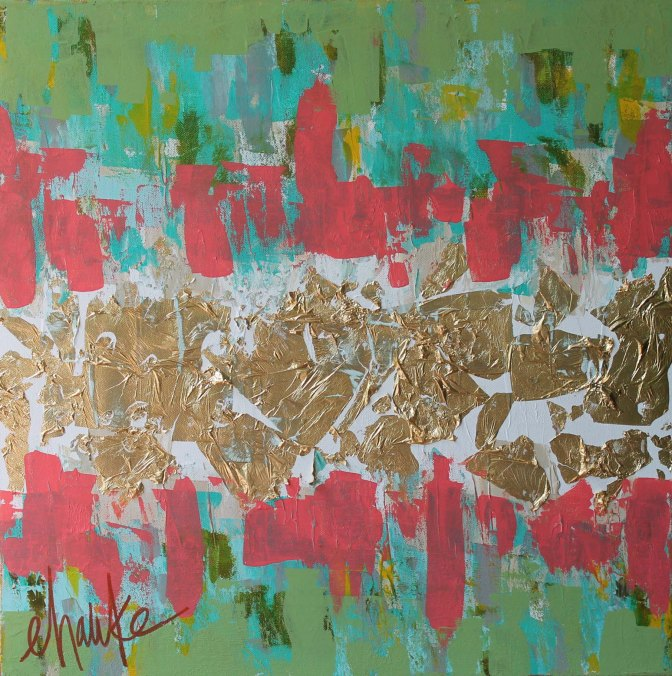 Flash Forward. 24 inches (h) x 24 inches (w) x 1.5 inches (d). Acrylic and Gold Leaf Abstract. Deep edges of this Canvas are coated in Gold Leaf. $325