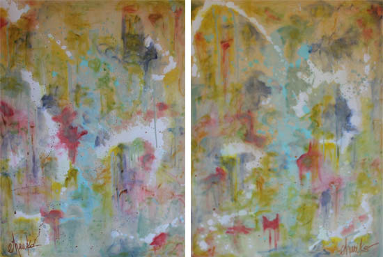 Garden District I and II. Pair of 36 x 48 Abstracts, inspired by the historic and natural beauty of Montgomery's Garden District. Acrylic and liquid Gold Leaf on Gallery Wrapped Canvas. $525 each. Special Rate Available for Purchase of the Pair. Contact for interest, or stop by Montgomery's Restaurant, Chop House at the Vintage Year, to view.
