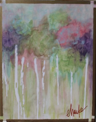 Garden Revisited. 18 inches x 24 inches. Acrylic Abstract on Canvas. Brass Leaf is utilized for a Painted Contemporary Border, which also wraps the Edges. $170