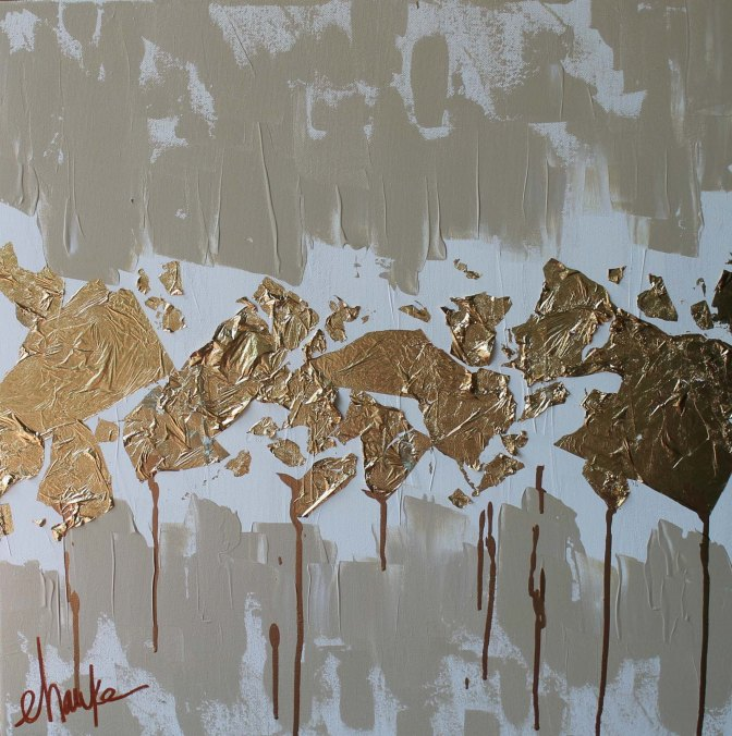 Golden Age II. 24 inches (h) x 24 inches (w) x 1.5 inches (d). Acrylic and Gold Leaf Abstract. Deep edges of this Canvas are coated in Gold Leaf. $325