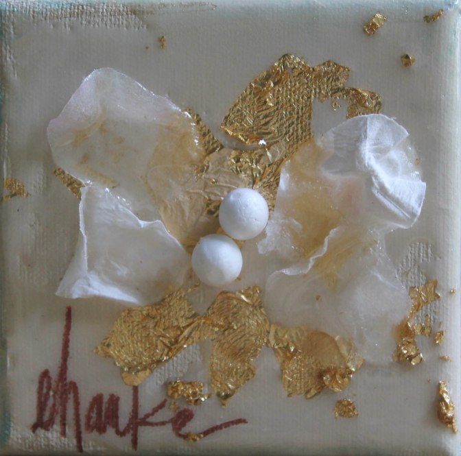 Grace. 4 inch x 4 inch Mixed Medium Abstract. Acrylic, Gold Leaf, and Paper. Finished with a High Gloss Resin Coating. Such a sweet and beautiful accent. $25