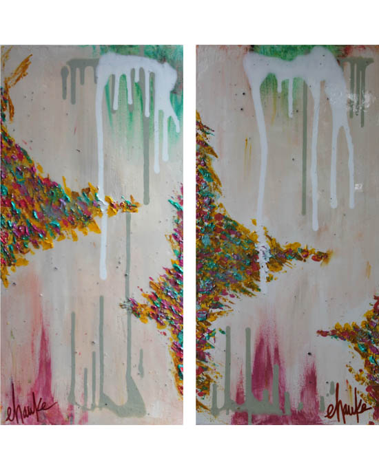 Gypsy I and II. Pair of 12 inch x 24 inch Abstracts. Acrylic on Canvas, with Gold Leaf Coated Sides. This Pair has been finished with a High-Gloss Resin Finish for a Candy Coated Shine and Extra Durability. $70 each or $125 for the Pair.