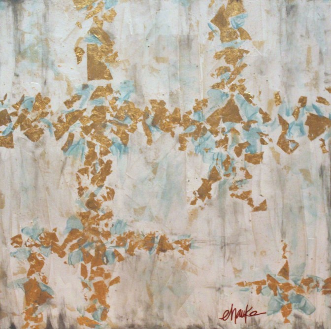 Urban Perspective- 36 inches (h) x 36 inches (w) x 1.5 inches (d). Acrylic and Gold Leaf on Canvas. Neutral hues of tan, white, gray, and aqua are the perfect back drop for this abstract design in gold leaf. Larger in scale, it makes a beautiful statement from all angles, as even the sides of the canvas are coated in gold leaf. Finished with a high-gloss resin coating, for extra shine and durability. $430.