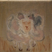 Lamb I. 4 inches x 4 inches. Acrylic on Canvas. This Precious painting is a perfect accent for a beside table or bookshelf in a Nursery. $20