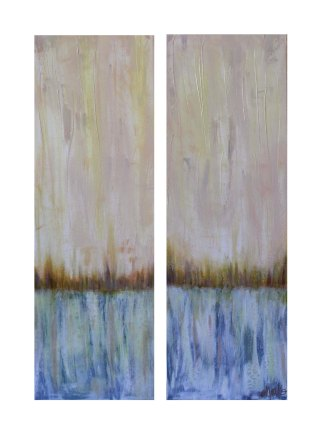 Landscape Pair- 48 inches (h) x 12 (w) inches x 1.5 inches (d). Acrylic on Canvas. $380.