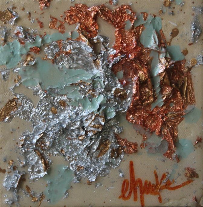 Metallic Study. 6 inch x 6 inch Acrylic Copper Leaf and Silver Leaf Abstract on Gallery Wrapped Canvas. Finished with a High Gloss Resin Coating. $40