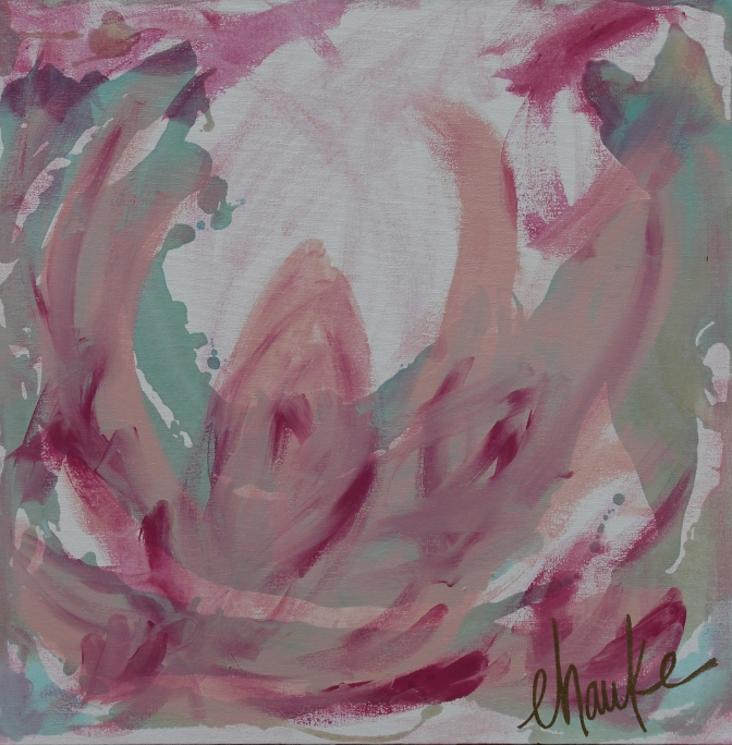 """Peony Study"". Acrylic and on Gallery Wrapped Canvas. UV Protective Coating. 24"" x 24"". $500"