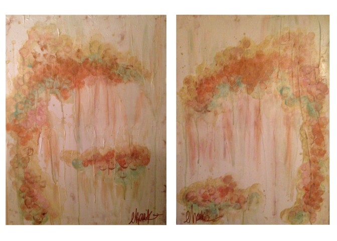 Piece of Cake I and II. 18 inches x 24 inches each. Acrylic, Gold Leaf and textured medium on Canvas. Edges coated in Gold Leaf.