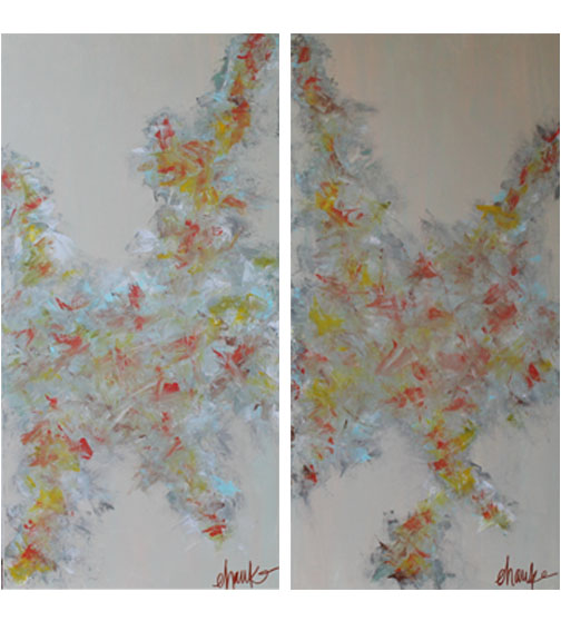 The Color Movement I and II. 24 inches by 48 inches each. Fabulous together or split up. Currently displayed in Bookcases. $375 each (or $700 for the pair)