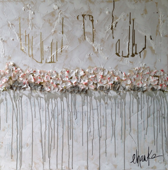 The Edge. 36 inches (h) x 36 inches (w) x 1.5 inches (d). Mixed Medium on Gallery Wrapped Canvas: Acrylic, Gold Leaf , Paper, and Textured Mediums. Deep edges of this Canvas are coated in Gold Leaf.