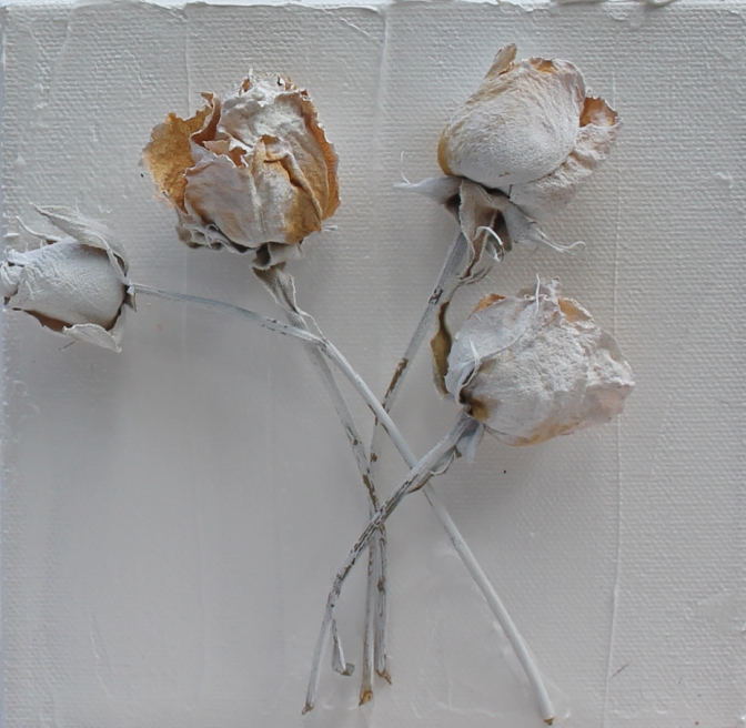 6 inches x 6 inches, block canvas.  Features dried and painted white roses. $30.