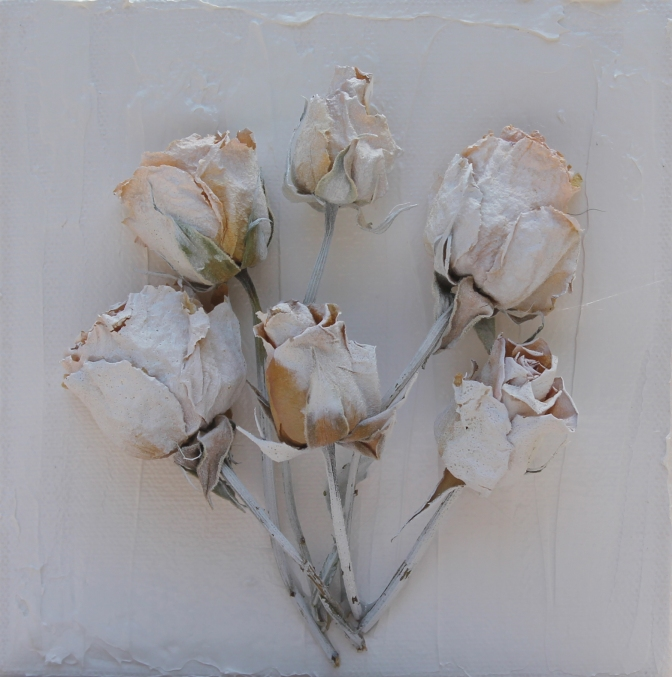 6 inches x 6 inches, block canvases.  Feature dried and painted white roses. $30.