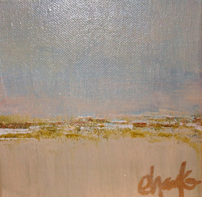 Mini Landscape- 6 inches x 6 inches. Acrylic on canvas. Beautiful accent for a side table or coffee table.  $35.
