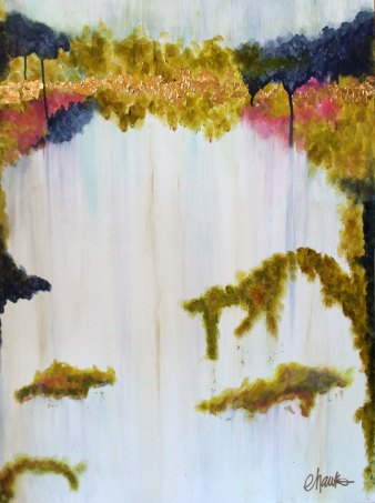 A Walk in the Park. 24 inches x 36 inches. Acrylic and Gold Leaf on Canvas. Commissioned.
