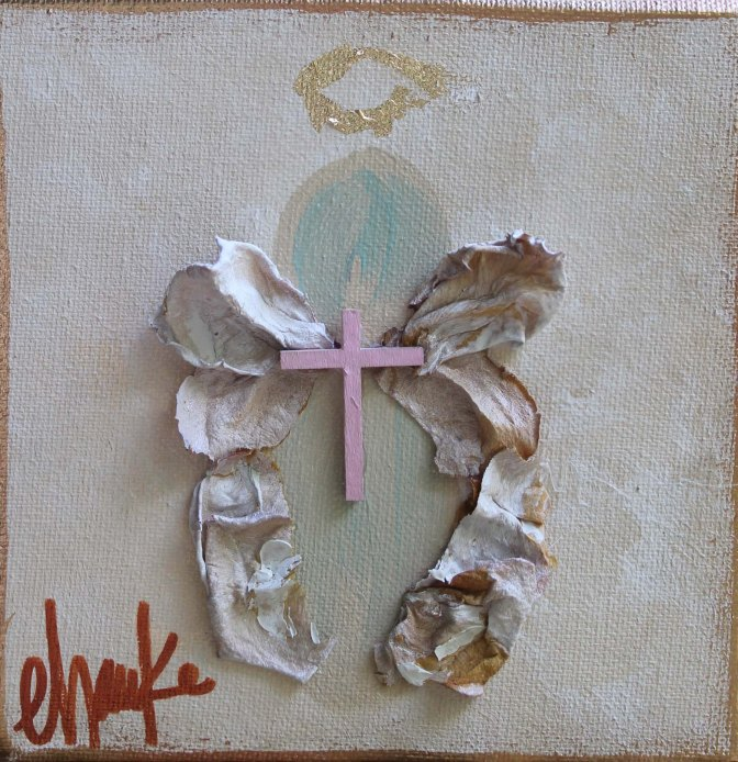 Guardian Angel- 6 inches x 6 inches. Acrylic and Gold Leaf on canvas. These make the sweetest gifts! Made to Order. $38.