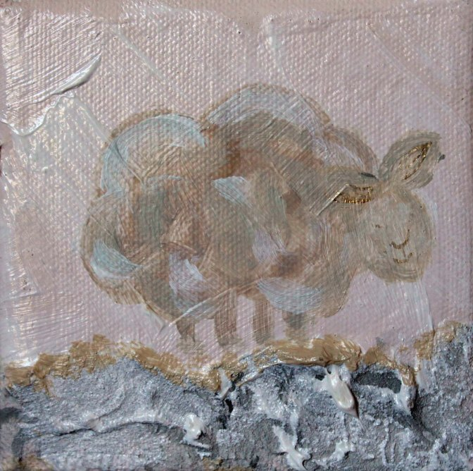 Mary's Little Lamb. 4 inches x 4 inches. Acrylic on Canvas. Textured, yet delicate. Precious painting is a perfect accent for a beside table or bookshelf in a Nursery. $25