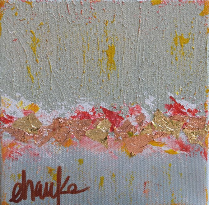 Sailing Summer- 6 inches x 6 inches. Acrylic and Gold Leaf on canvas. Beautiful accent for a side table or coffee table or  framed-out! $38.
