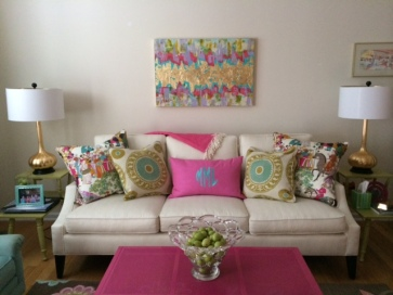 In Place! The Painting pulls together the room's assorted colors to complete this exciting and vibrant space!