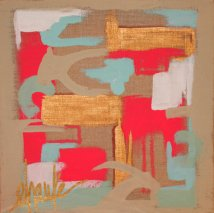 """The Puzzle II"" Acrylic and Gold Leaf on standard depth linen canvas with nailhead details. 12""x12"". $100"